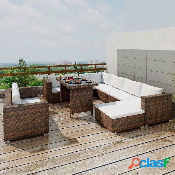 vidaXL 10 pcs conjunto lounge jardim c/ almofadões vime PE castanho 0