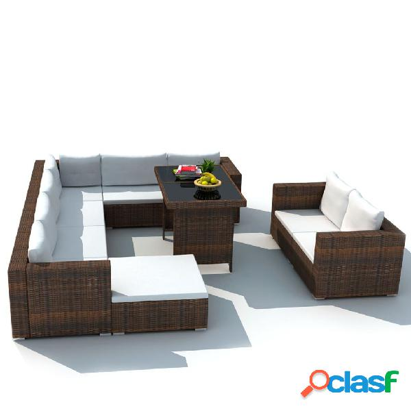 vidaXL 10 pcs conjunto lounge jardim c/ almofadões vime PE castanho 1