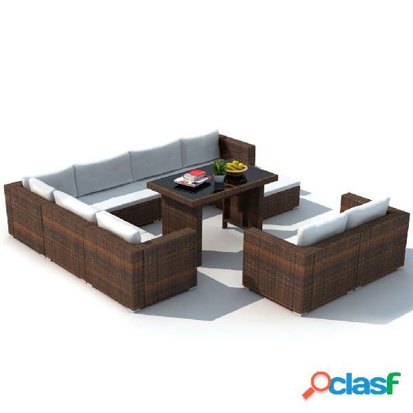 vidaXL 10 pcs conjunto lounge jardim c/ almofadões vime PE castanho 2