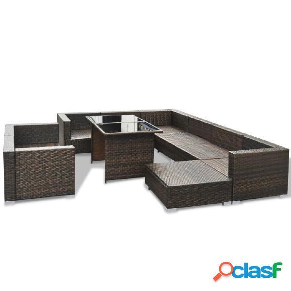 vidaXL 10 pcs conjunto lounge jardim c/ almofadões vime PE castanho 3