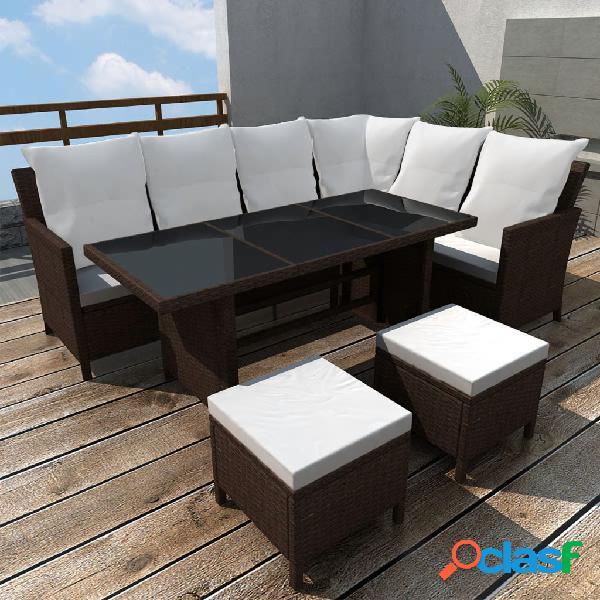 vidaXL 4 pcs conjunto lounge jardim c/ almofadões vime PE castanho 0
