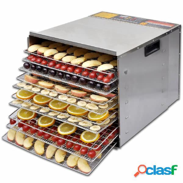 vidaXL Desidratador de Alimentos com 10 Bandejas - Aço Inoxidável 0