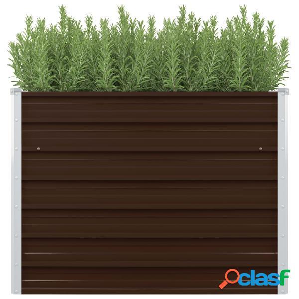 vidaXL Canteiro jardim elevado 100x100x77cm aço galvanizado castanho 0