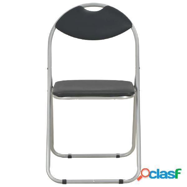 vidaXL Cadeiras de jantar dobráveis 6 pcs couro artificial preto 2
