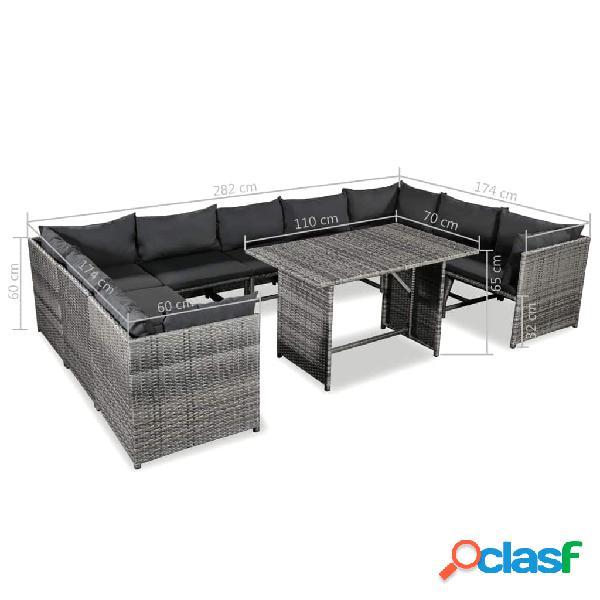 vidaXL 10 pcs conjunto lounge de jardim c/ almofadões vime PE cinzento 3