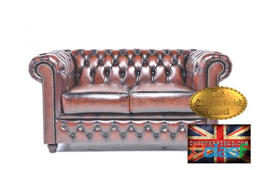 Sofa chesterfield brand em pele de 2 lugares, castanho antigo