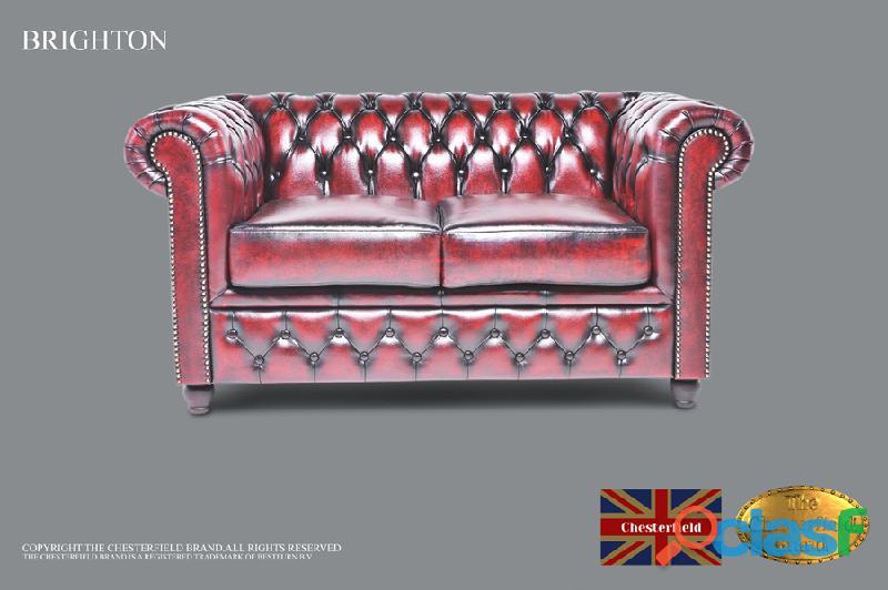 sofa Chesterfield de 2 lugares em pele ,Vermelho bordo antigo
