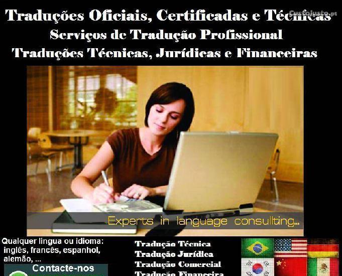 Serviços tradução certificada (todos os idiomas)