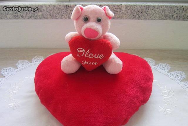 almofada coração peluche I love you amo-te