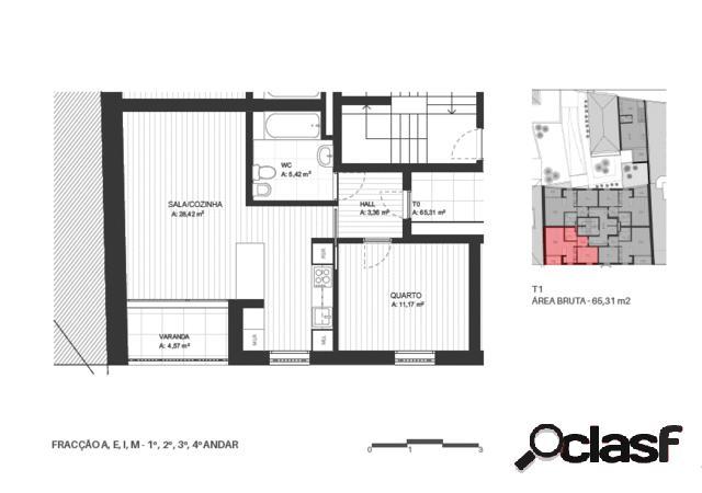 Venda - apartamento - t1