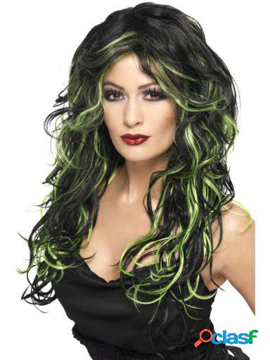 Peruca Gothic Bride Green & Black Long & Streaked Smiffys