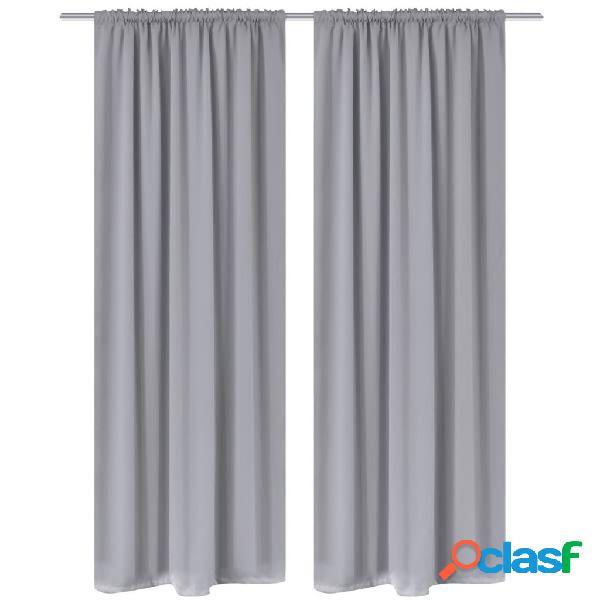 Vidaxl cortinas opacas, em cinza, 2 peças, ranhura na parte superior,