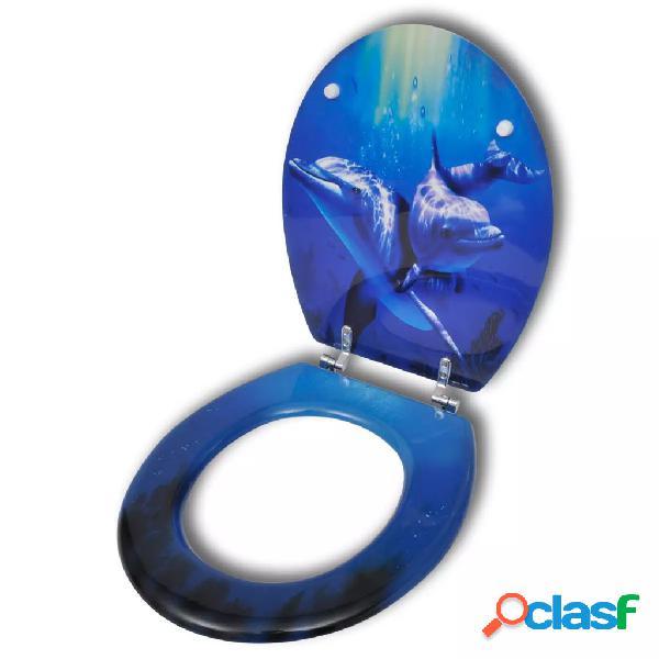 Vidaxl vaso sanitário com tampa mdf, fecho forte, design delfins