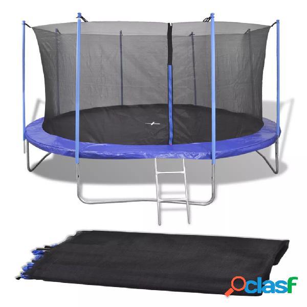 Vidaxl rede de segurança pe preta p/ trampolim redondo 4,57 m