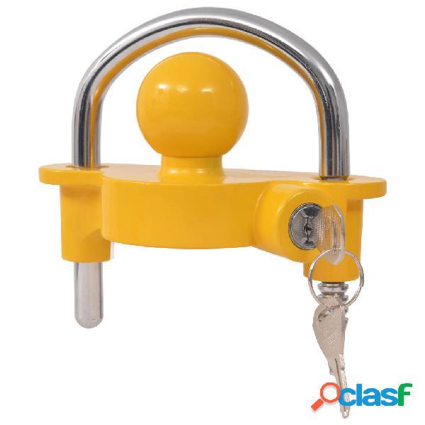 Vidaxl cadeado atrelado com 2 chaves, aço e liga de alumínio amarelo