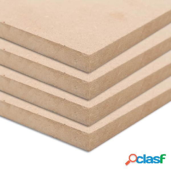 Vidaxl placas de mdf 4 pcs quadrado 60x60 cm 25 mm