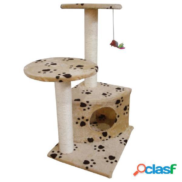 Vidaxl arranhador gato com poste e estampo pata, bege