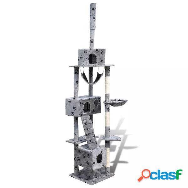 Vidaxl arranhador para gato com 3 gateras + estampo de pata, 220-240cm, cinza