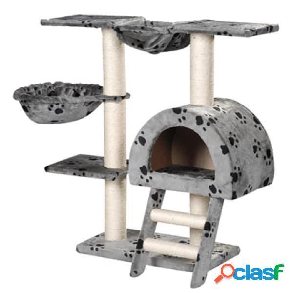 Vidaxl arranhador para gatos 105cm cinza com estampa de patas