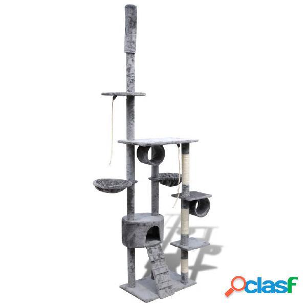 Vidaxl arranhador para gatos com 1 gatera, 220-240 cm / cinza