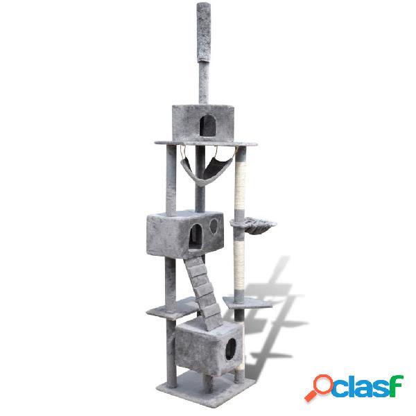Vidaxl arranhador para gatos com 3 gateras, 220-240 cm / cinza