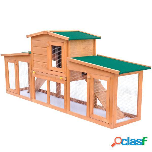 Vidaxl coelheira grande para animais pequenos c/ telhados madeira