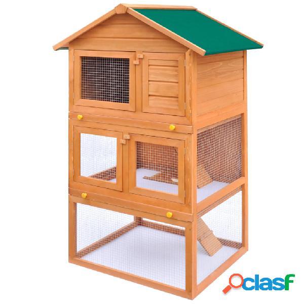 Vidaxl coelheira para animais pequenos 3 andares madeira