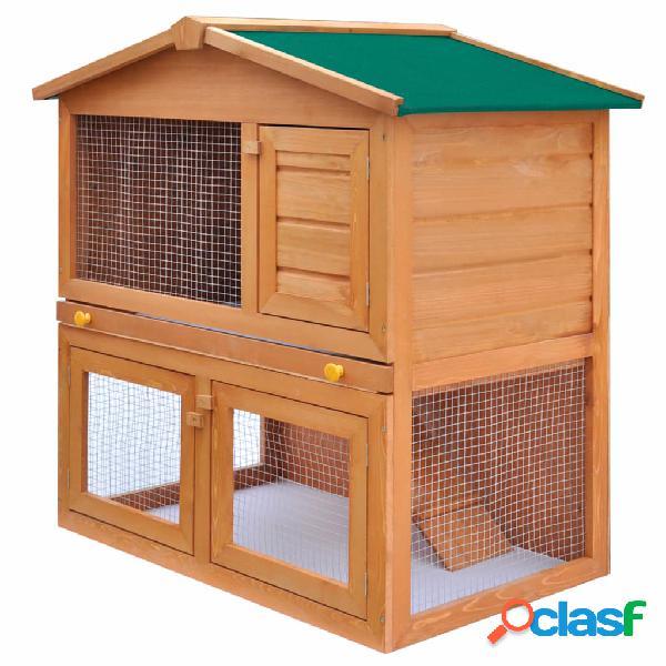 Vidaxl coelheira para animais pequenos 3 portas madeira