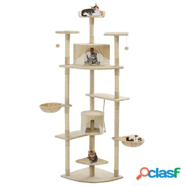 Vidaxl árvore p/ gatos c/ postes arranhadores sisal 203 cm bege/branco