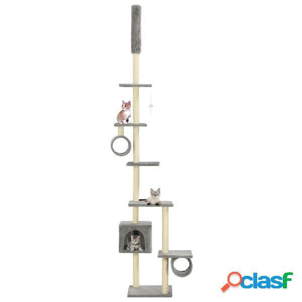 Vidaxl árvore p/ gatos c/ postes arranhadores sisal 260 cm cinzento