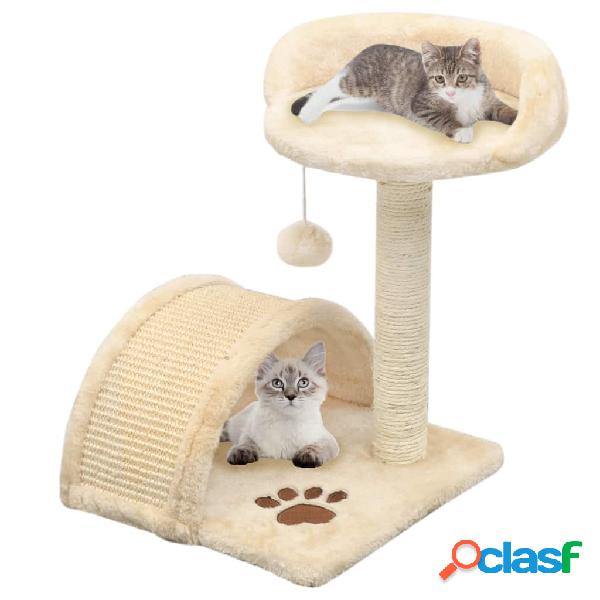 Vidaxl árvore p/ gatos c/postes arranhadores sisal 40 cm bege/castanho