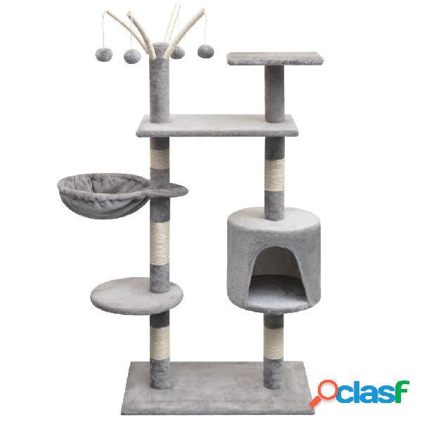 Vidaxl árvore para gatos c/ postes arranhadores sisal 125 cm cinzento
