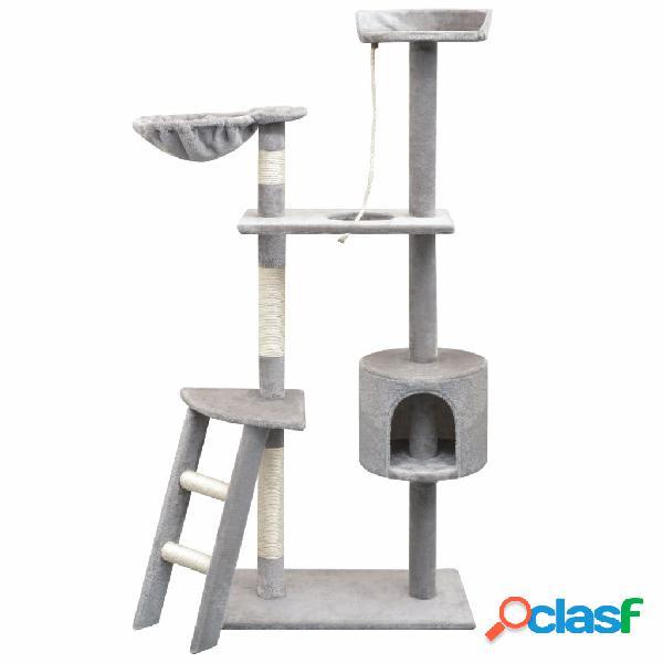 Vidaxl árvore para gatos c/ postes arranhadores sisal 150 cm cinzento
