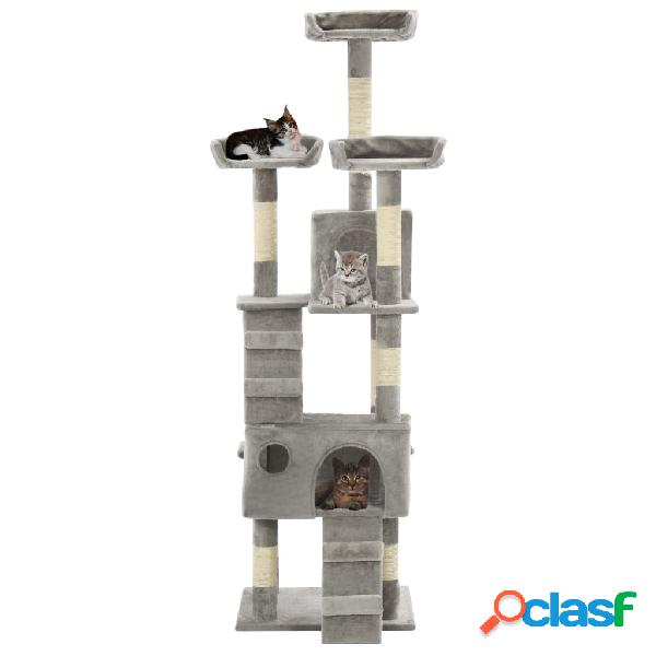 Vidaxl árvore para gatos c/ postes arranhadores sisal 170 cm cinzento