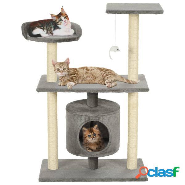 Vidaxl árvore para gatos c/postes arranhadores sisal 95 cm cinzento