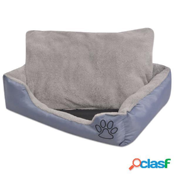 Vidaxl cama para cães com almofada acolchoada tamanho m cinzento