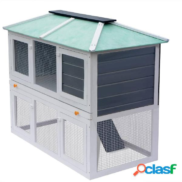 Vidaxl gaiola para coelho c/ chão duplo madeira