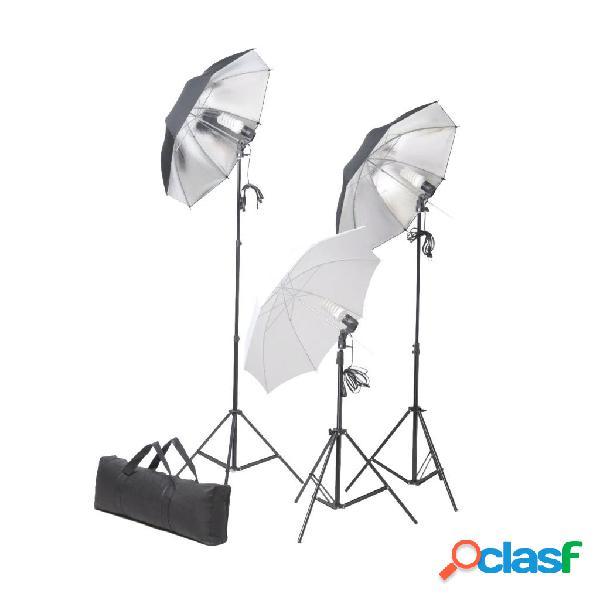 Vidaxl conjunto de iluminação para estúdio com tripés e sombrinhas 24 w