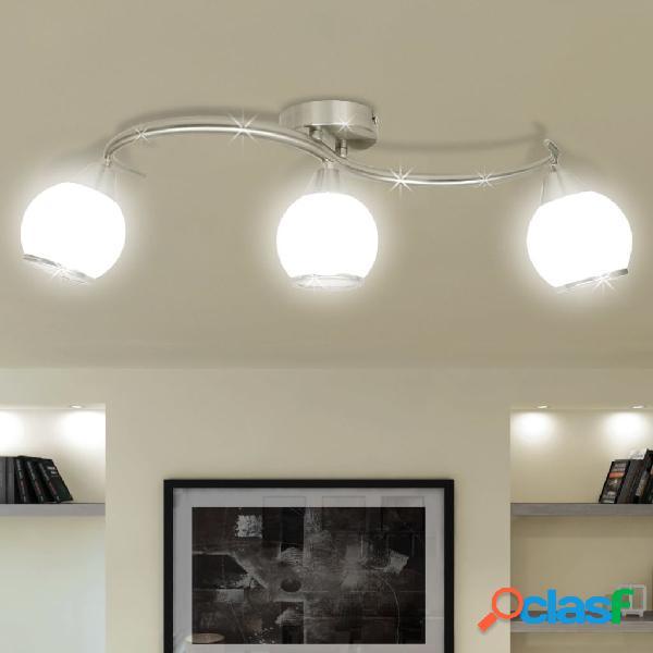 Vidaxl candeeiro teto com tonalidades vidro, barra ondulada, 3 lâmpadas e14