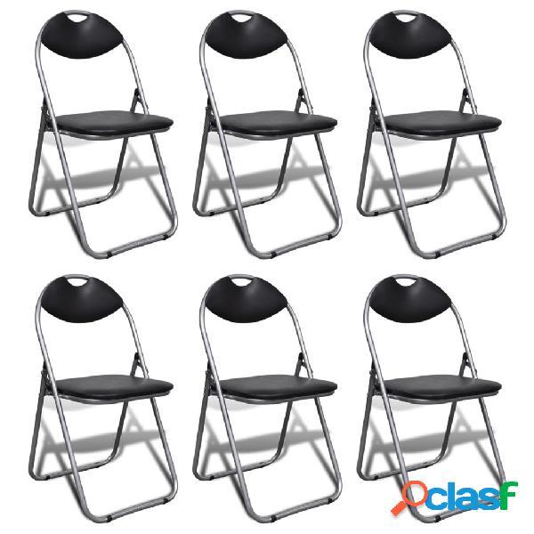 Vidaxl cadeiras de jantar dobráveis 6 pcs couro artificial e aço preto