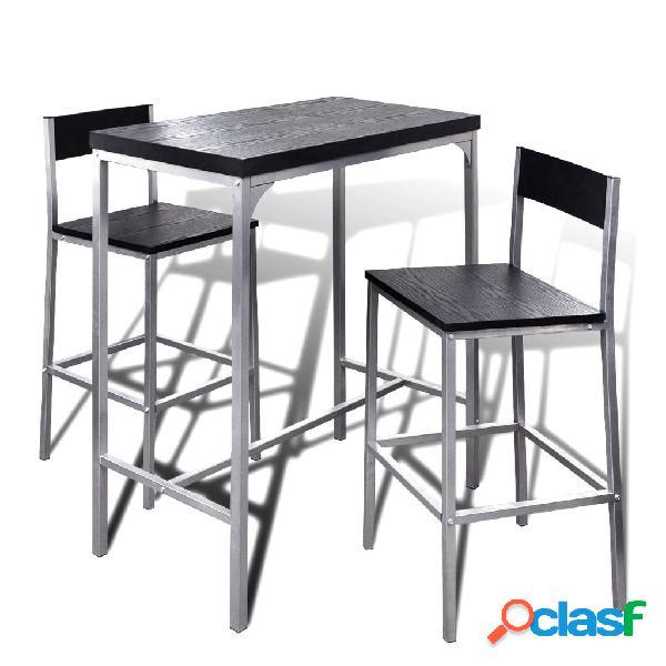 Vidaxl mesa de bar alta com 2 cadeiras para pequeno almoço