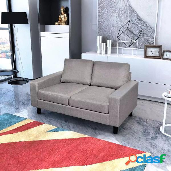 Vidaxl sofá de 2 lugares em tecido cinzento claro