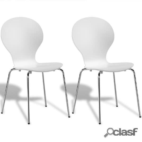Vidaxl conjunto 2 cadeiras de jantar empilháveis, estilo borboleta, branco