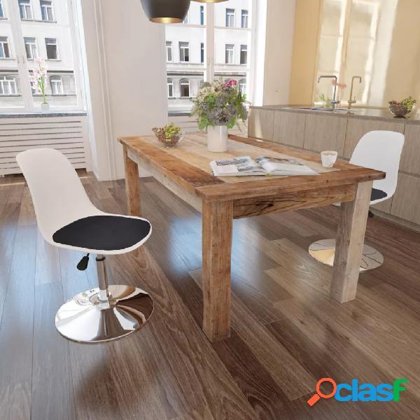 Vidaxl cadeiras jantar giratórias 2 pcs couro artificial branco/preto