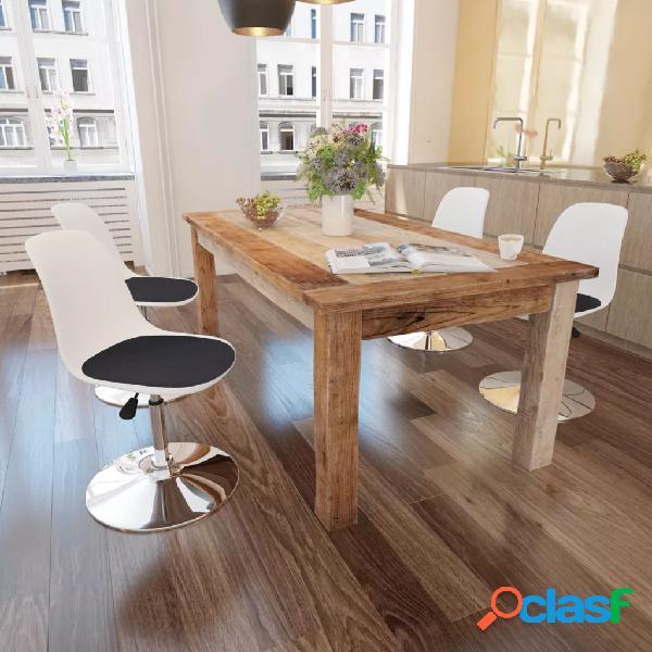 Vidaxl cadeiras jantar giratórias 4 pcs couro artificial branco/preto