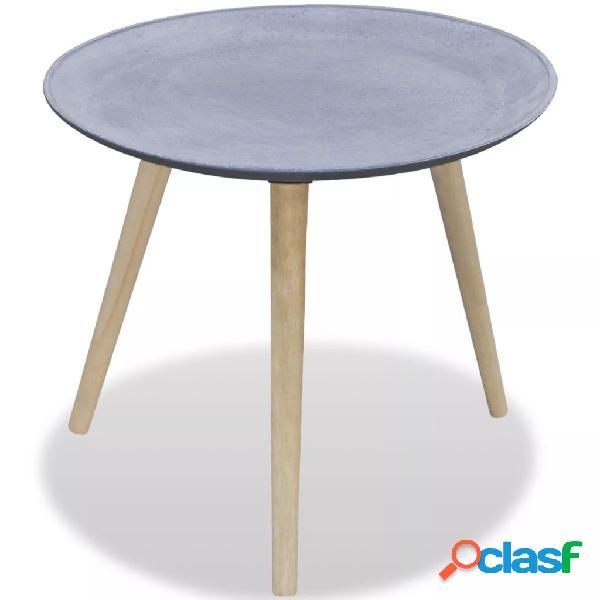 Vidaxl mesa de apoio redonda, cinzento aspeto concreto