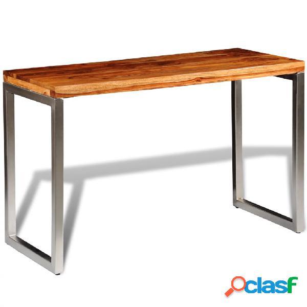 Vidaxl mesa de jantar/escritório pernas de aço madeira sheesham sólida