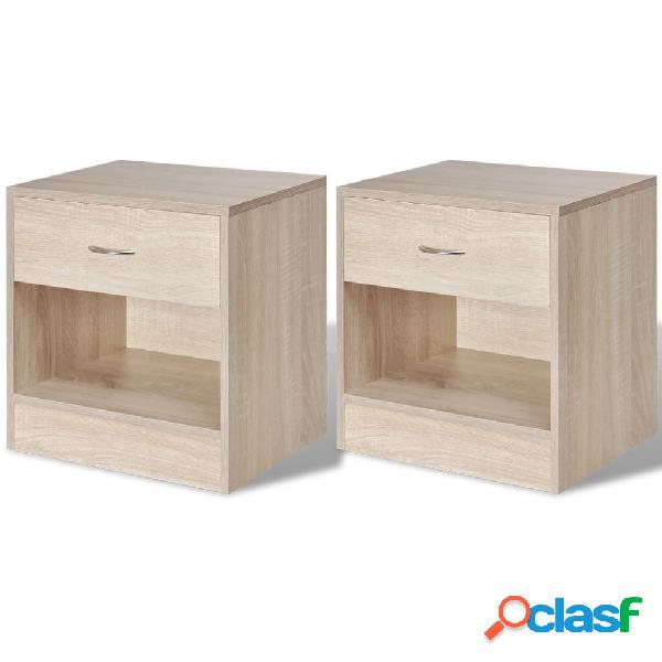 Vidaxl mesa de cabeceira com gavetas 2 pcs cor de carvalho