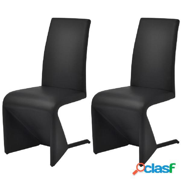Vidaxl cadeiras de jantar 2 pcs couro artificial preto