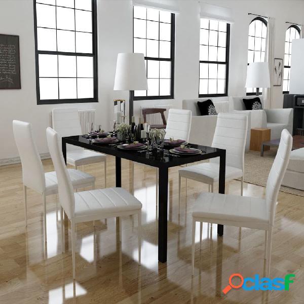 Vidaxl conjunto mesa de jantar 7 pcs preto e branco